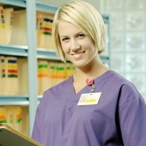 Nurse with clipboard.